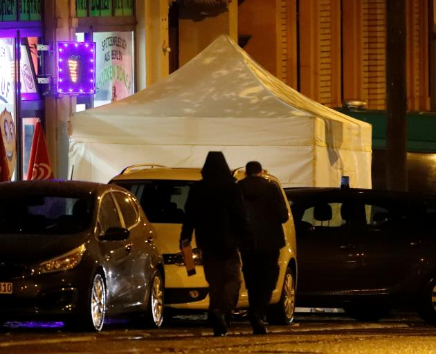 A forensic tent has been erected outside the kebab fast food restaurant. Photo: Reuters