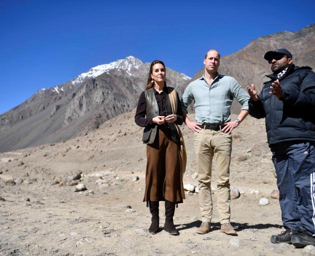 Prince William and Catherine, Duchess of Cambridge, at the Chiatibo glacier in the Hindu Kush...