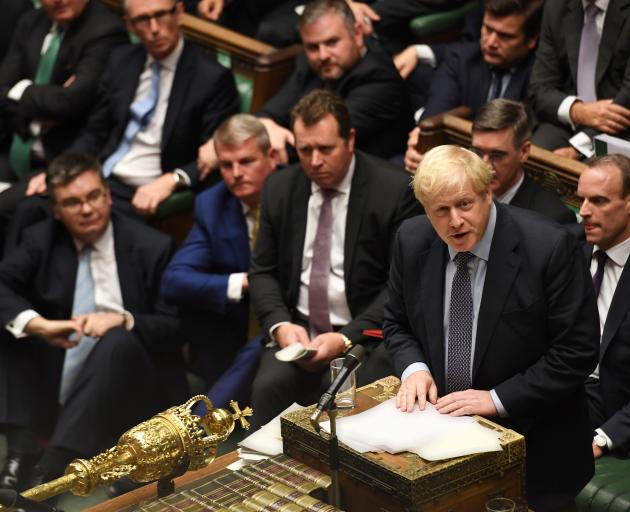 Prime Minister Boris Johnson speaks ahead of a vote on his renegotiated Brexit deal, on what has...