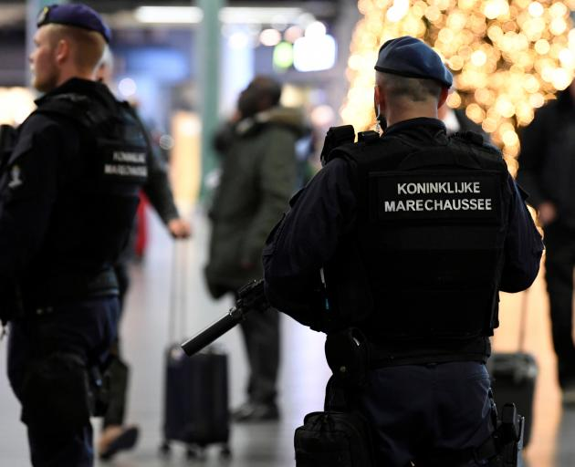 Dutch police patrol at Amsterdam's Schiphol airport on Wednesday. Photo: Reuters