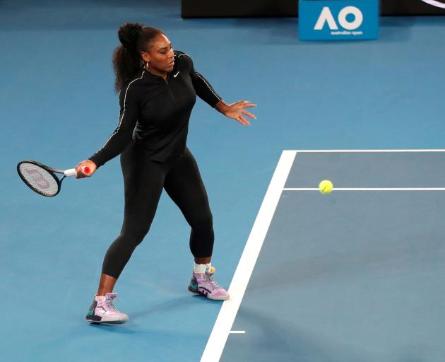 Serena Williams at a practice session in Melbourne. Photo: Reuters