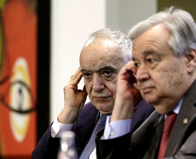 UN Envoy for Libya Ghassan Salame and UN Secretary-General Antonio Guterres. Photo: Reuters