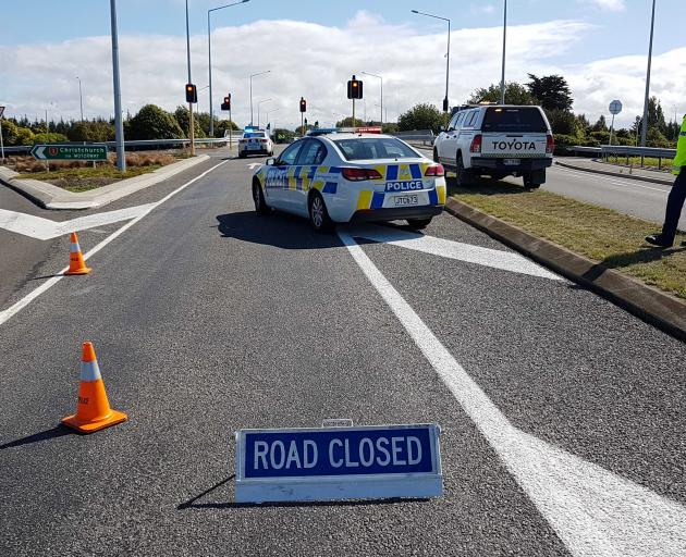 The Lineside Rd Overbridge (SH 71) between Kaiapoi and Rangiora is closed. Photo: Geoff Sloan