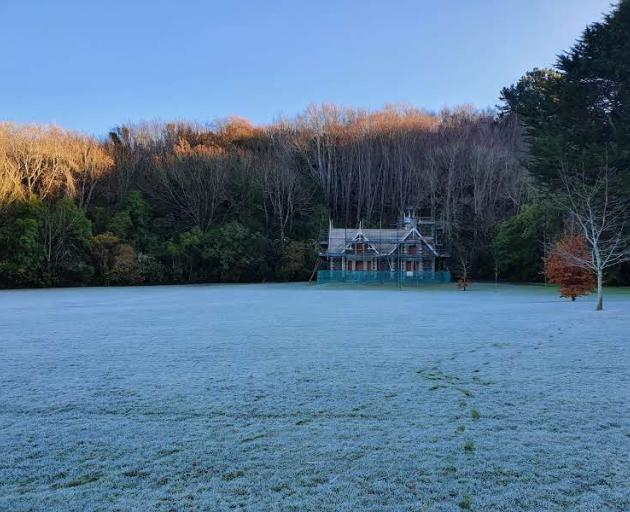Chingford Park was covered in frost this morning. Photo: Supplied