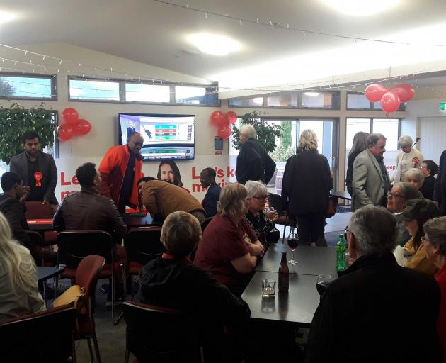 Labour supporters gather at the Woolston Club. Photo: Louis Day