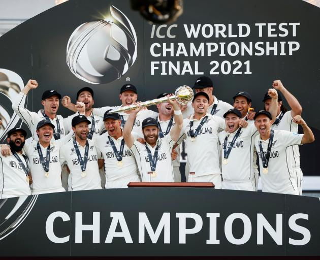 The Black Caps celebrate their victory over India in the World Test Championship final. Photo:...