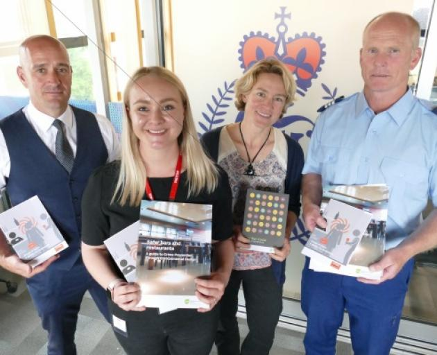 October Protection boss Matt Wood (left) with Sophie Glover of the Southern DHB, alcohol and drug...