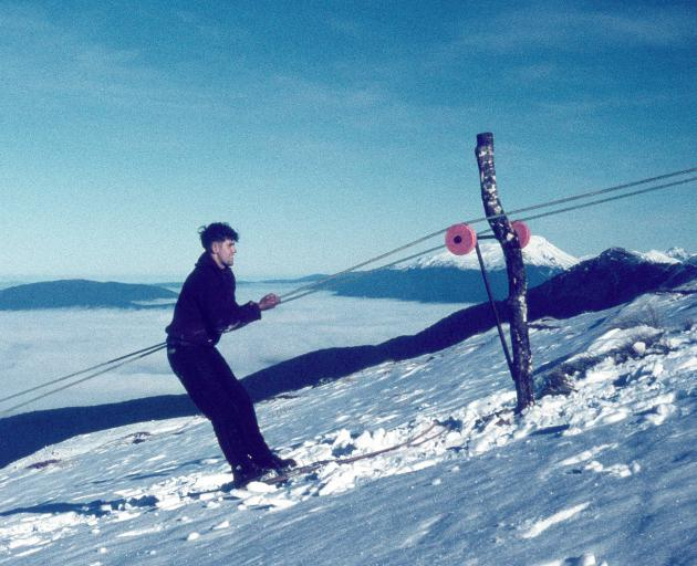 Barry Campbell getting up Mt Luxmore using the tow he constructed. Photo: Barry Campbell