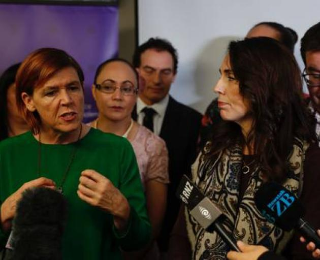 Prime Minister Jacinda Ardern with Paliamentry Under-Secretary Jan Logie (left) at today's...