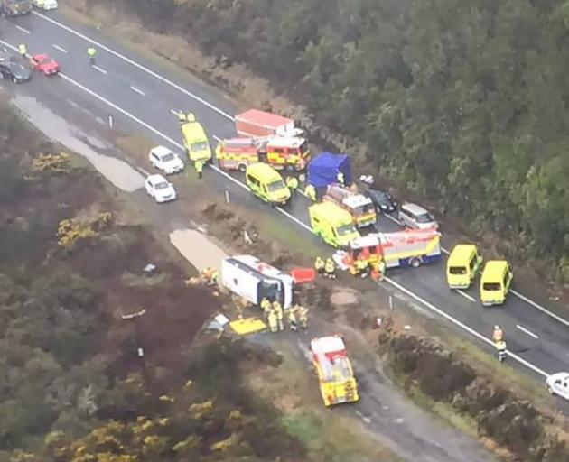 An aerial view of the crash scene. Photo: Westpac Rescue Helicopter