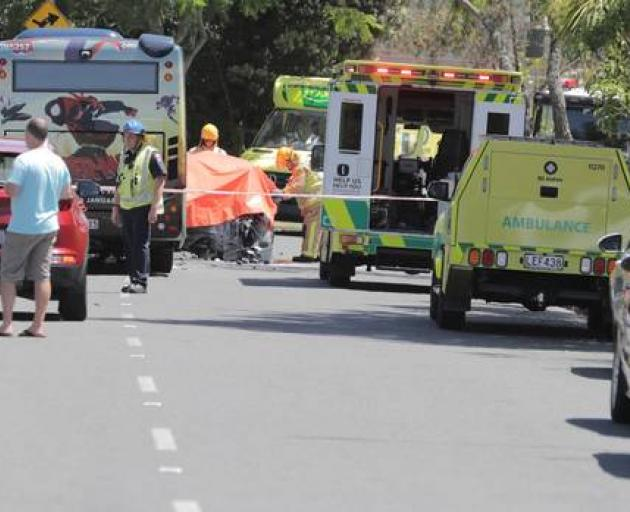 Emergency services at the scene this morning. Photo: NZ Herald