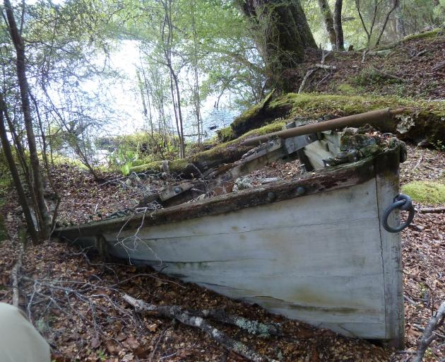 The boat abandoned by Fiordland Travels on the shore of Lake Te Wai o Pani. PHOTO: ALINA...