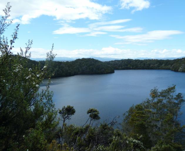 View from the cliff above Lake Te Wai o Pani. PHOTO: ALINA SUCHANSKI