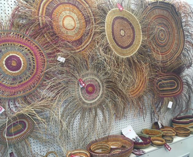 Baskets and weaving are on display at Provenance Arts, in Darwin.