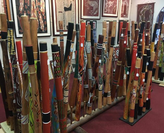 Hand-crafted didjeridus line up at Darwin's Aboriginal Fine Arts Gallery.