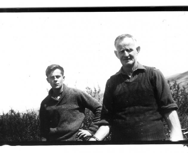 Peter (left) and his father Bert Jones are flanked by Teviot Valley hills while on their Coal...