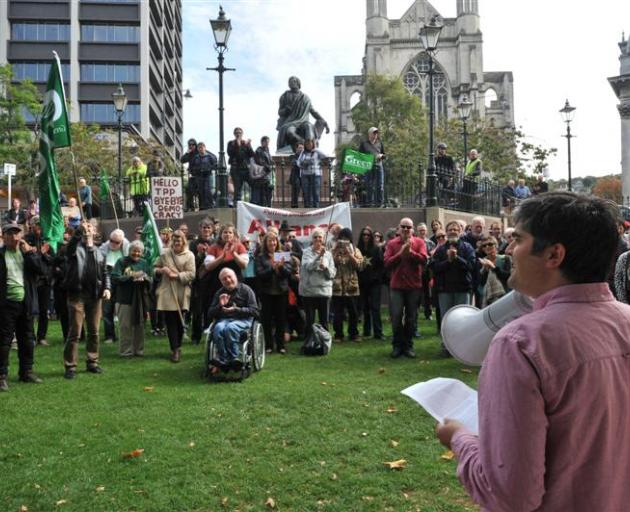 Addressing an anti-TPPA rally in the Octagon in 2014. PHOTO: ODT FILES