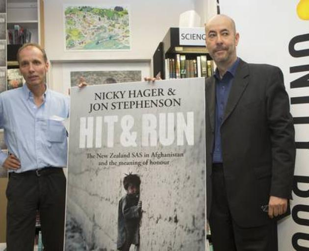 Authors Nicky Hager, left, and Jon Stephenson at the launch of their book, Hit & Run, in March...