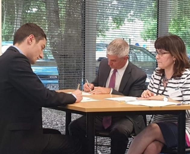 Andrei Moore being sworn in as Halswell-Hornby-Riccarton Community Board deputy chairman in...