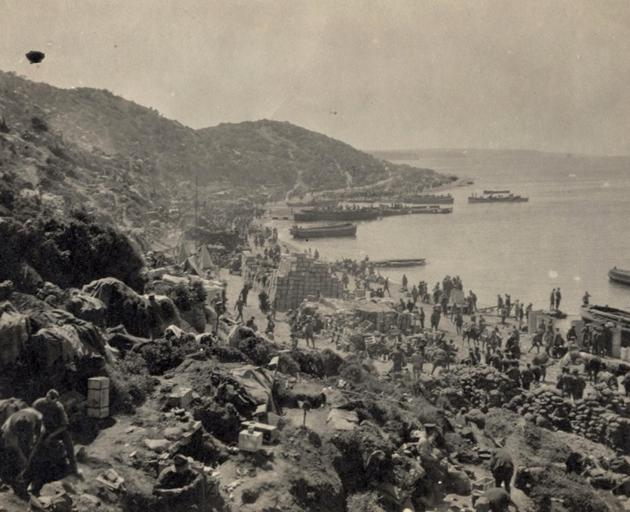 The beach at Anzac Cove congested with boats and barges offloading men and supplies. Overcrowding remained a problem inside the tiny Anzac perimeter until the Sari Bair Offensive in August 1915. PHOTO: ALEXANDER TURNBULL LIBRARY REFERENCE PACOLL-8147-1-08