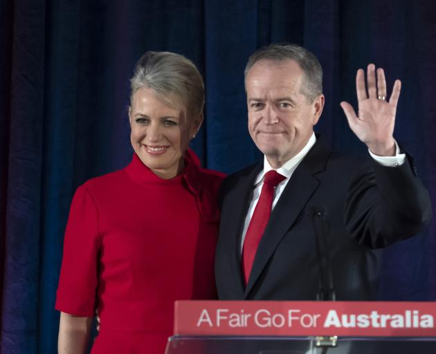 Bill Shorten with his wife Chloe in Melbourne. Photo: AP