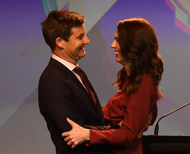 Labour Party leader and New Zealand Prime Minister Jacinda Ardern and her partner Clarke Gayford....