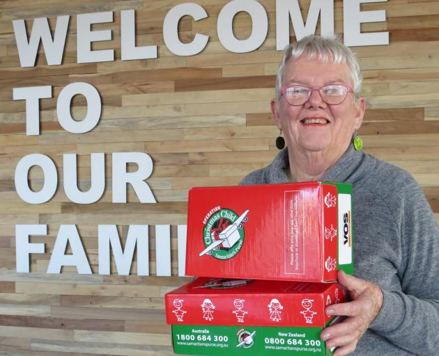 Ashburton co-ordinator Pat Andrew, of Operation Christmas Child, with some of the shoebox sized...