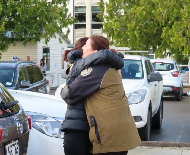 Rangitata MP Jo Luxton (right)  gets a supportive hug from the Prime Minister. Photo: Linda...