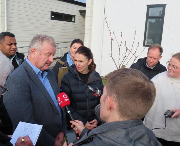 Ashburton Mayor Neil Brown speaking to media today. Photo: Linda Clarke/Ashburton Courier