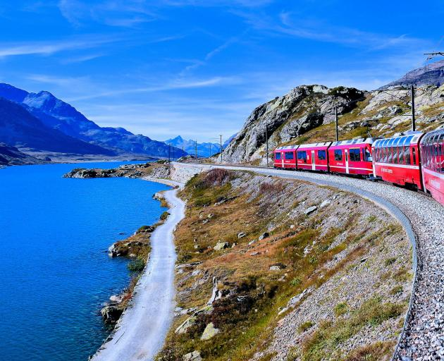 Bernina Express crosses the 2253m high Bernina Pass.