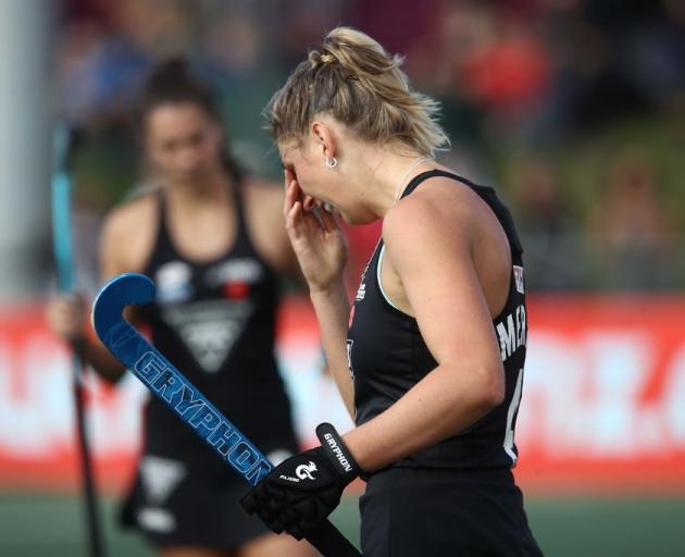 Black Sticks player Olivia Merry was hit on the face during the match against Australia. They...