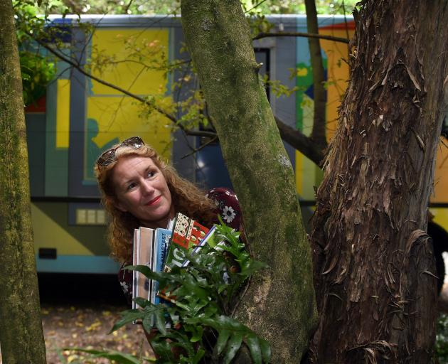 Jo Bailey goes bush with one of Dunedin's book buses. PHOTO: STEPHEN JAQUIERY