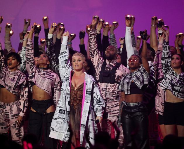 Pink performing at the Brit Awards at London's O2 Arena. Photo: Reuters