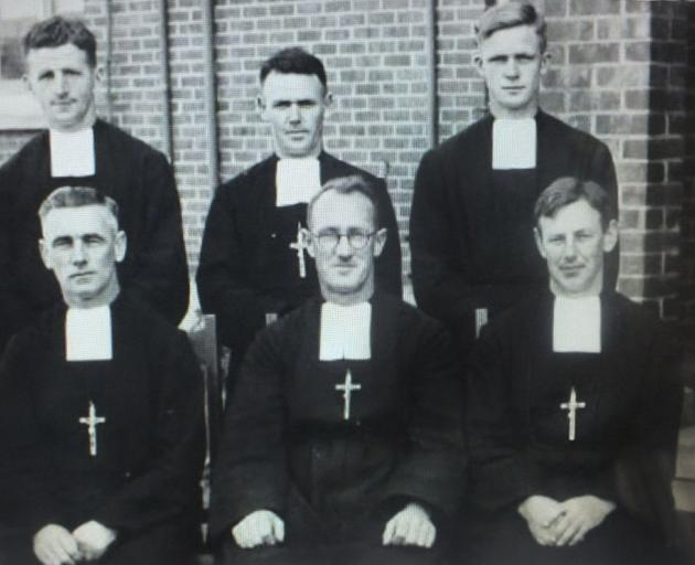 Marist Brothers at their Mary Street resident in Invercargill in 1947 including Brother Fabian O'Driscoll (front, left). Photo: supplied