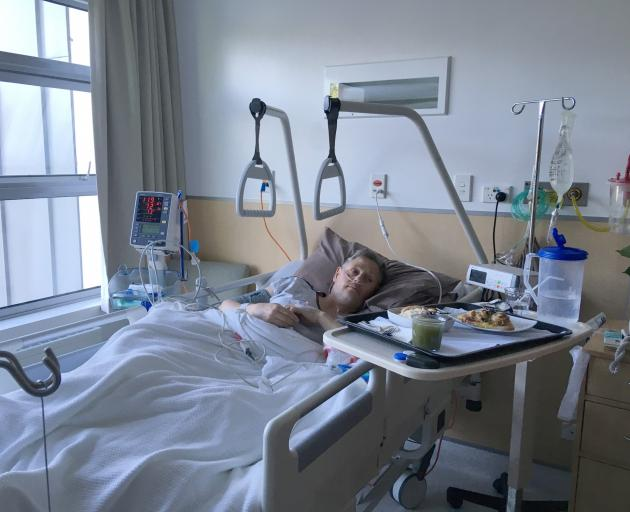 Bruce Munro in the Mercy Hospital ward a few hours after his hip replacement surgery, November 19...