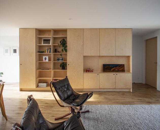 Creating built-in birch ply shelving is one of many projects that the residents have worked on...