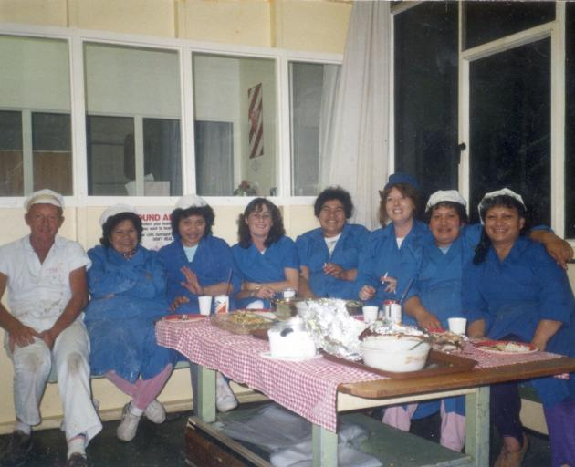 The fourth floor night shift crew, including La Faatoese's wife Lili (second from left), during...