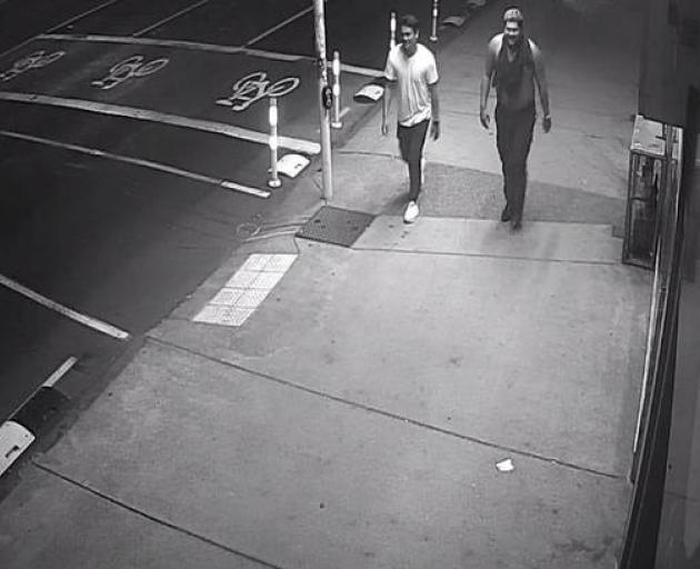 CCTV footage released by police shows Joden Martin (right) walking away after the attack. Photo:...