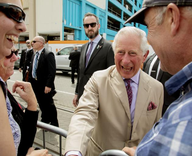 Prince Charles at Cathedral Square on Friday. Photo: Geoff Sloan