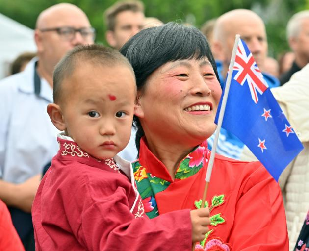 Andrew Liu (2) and his grandmother Judy Wang, of Dunedin, celebrate the start of the Year of the...
