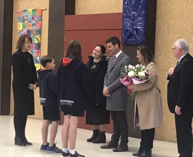 Clarke Gayford and Jenny Morrison have been welcomed with a rousing powhiri at Remarkables Primary School. Photo: Daisy Hudson