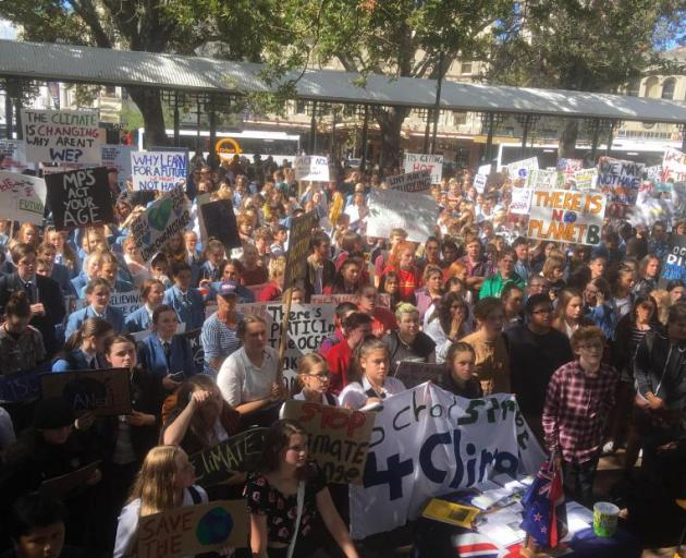 Dunedin pupils gathered in the Octagon on March 15 as a part of the global Strike 4 Climate....