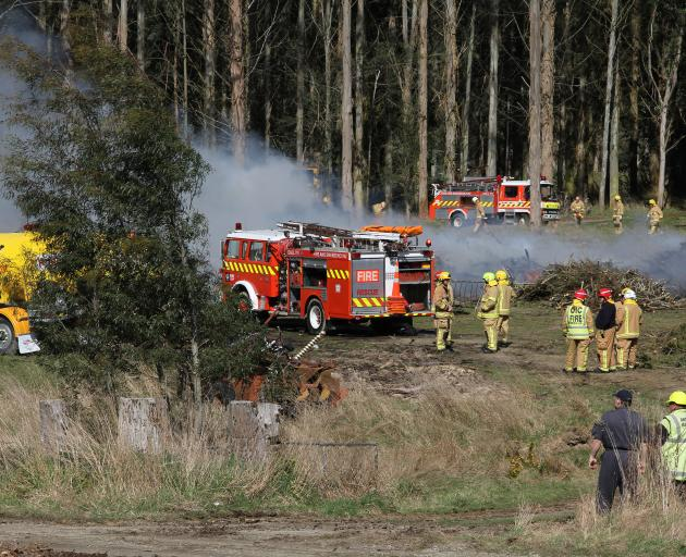 Fire crews at the scene this afternoon. Photo: John Cosgrove