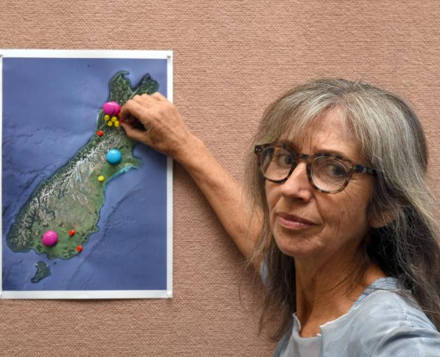 Rosemary Penwarden places pins on a map to show proposed and existing coal mines in the South...