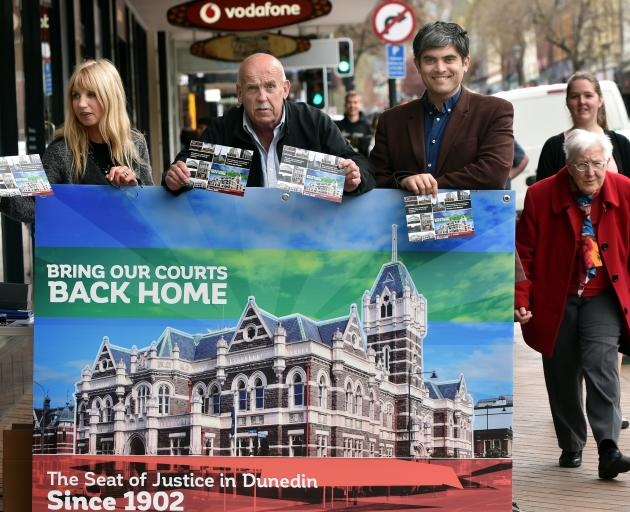 With lawyer Anne Stevens and fellow councillor David Benson-Pope, campaigning to save the Dunedin...