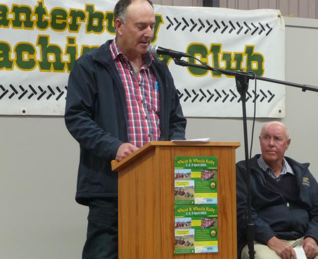 Mid Canterbury Vintage Machinery Club president John Stewart addresses the crowd at the club...