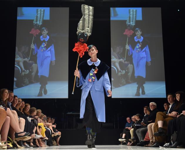A model features designs from Dada at this year's show. PHOTO: PETER MCINTOSH
