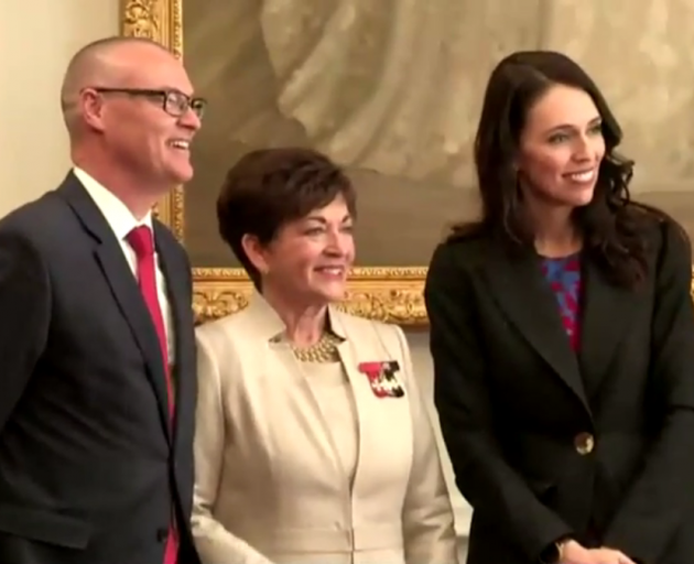 Health Minister Dr David Clark, Governor General Dame Patsy Reddy and Prime Minister Jacinda Ardern. Photo: NZ Herald