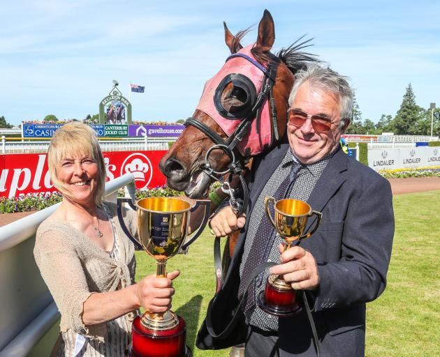 The late Terrill Charles with Peter Corbett after Dee And Gee won the 2019 New Zealand Cup at...