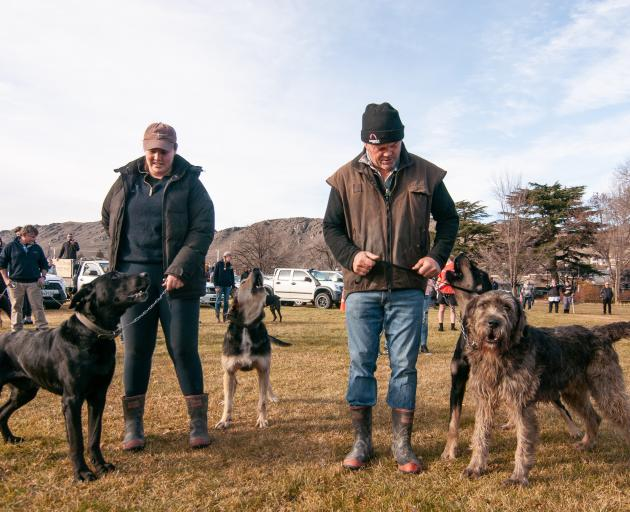 Bannockburn father and daughter duo Erin Chittock with dogs Stan and Dave, and Kerry Chittock and...